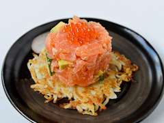 Huon Reserve Selection smoked salmon tartare on a potato rosti