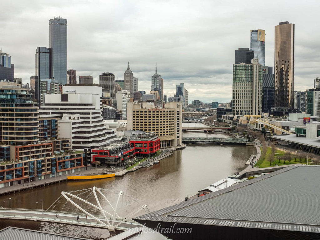 View of Melbourne from Hilton South Wharf