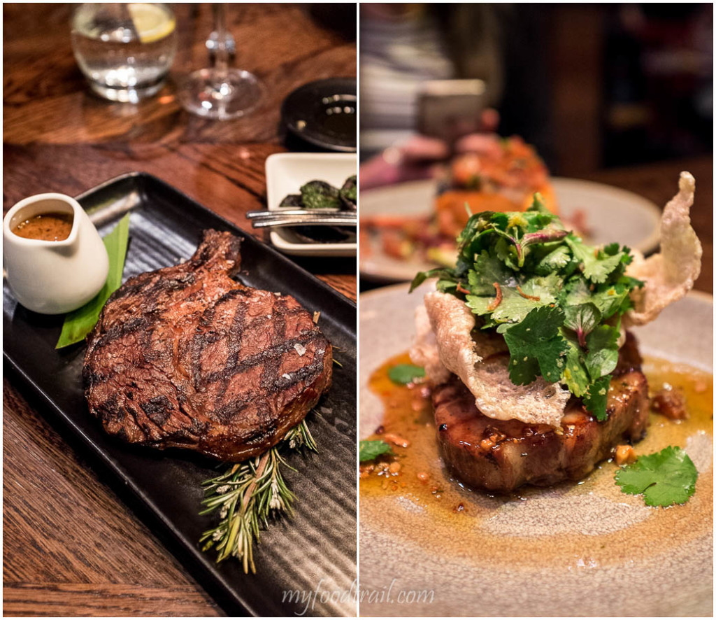Grain fed rib eye, 24 hr pork scotch fillet, Dock 37 Bar and Kitchen