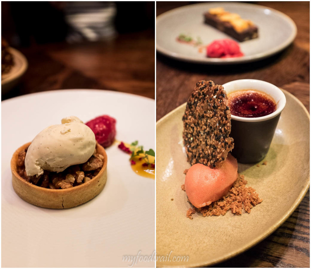 Walnut tart, Salted caramel & creme brulee, Dock 37 Bar and Kitchen